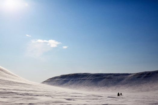 A barren winter landscape with two snowmobiles travelling accross the horizon