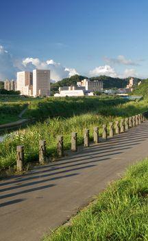cityscape of riverbank