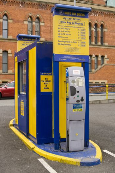 NCP Car park meter in Aytoun Street car park in Manchester, UK