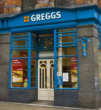 Greggs the baker,old fashion shop on London Road in Manchester