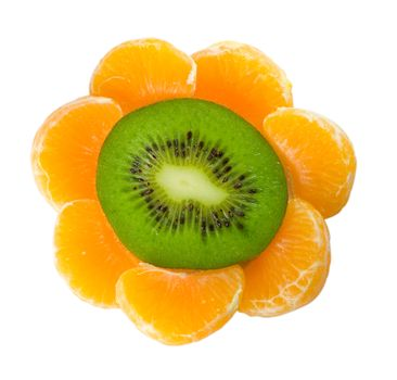 kiwi and tangerine as flower, isolated on white