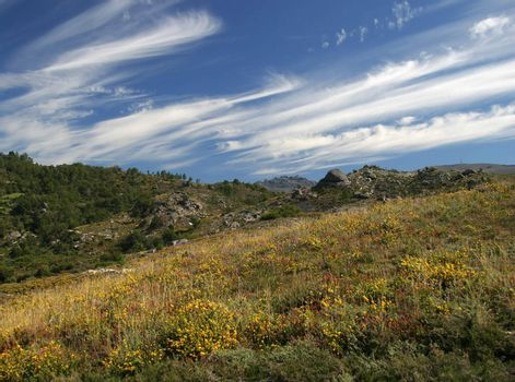 Beautiful wild landscape in Geres Natural Park, Portugal.
