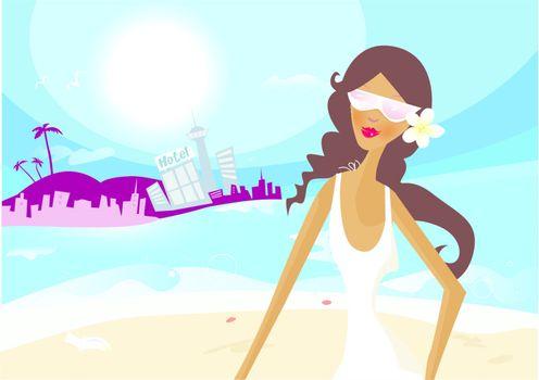 Hot summer girl on vacation
