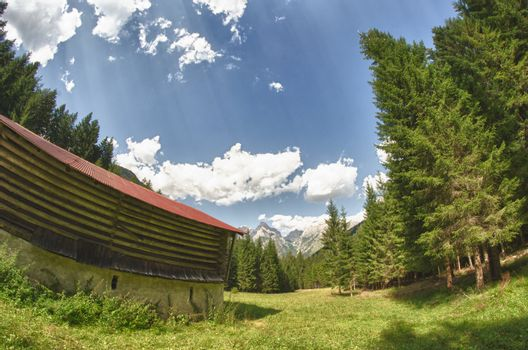 Hut and Trees in the Dolomites