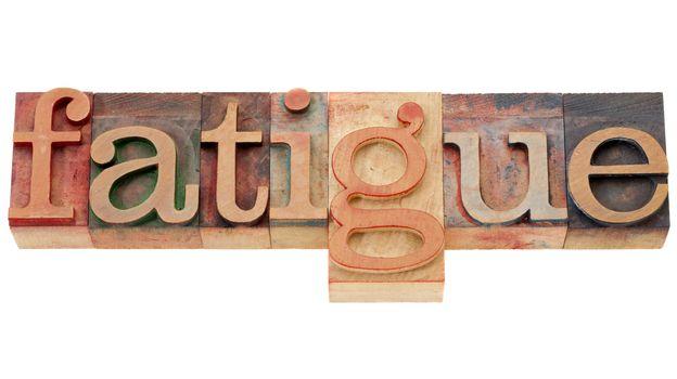 fatigue word in letterpress type