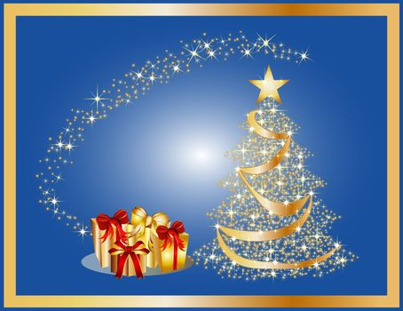 a illustration of a golden christmas tree background