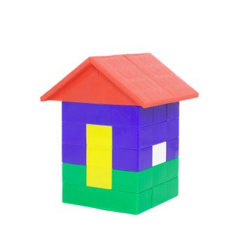 house building from colored lego blocks, isolated on white