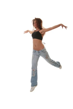 Young female dancing jazz modern dance