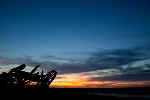 A sunet on a saskatchewan prairie landscape