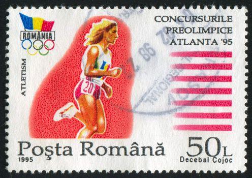 ROMANIA - CIRCA 1995: stamp printed by Romania, show runner, circa 1995.