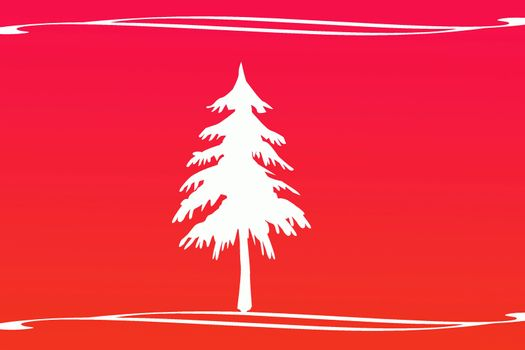 White Christmas tree on red background