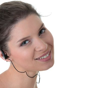 Young fitness woman with sport headphones listening music