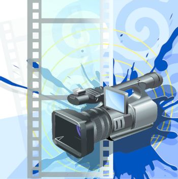Illustration, video camera on background of the film