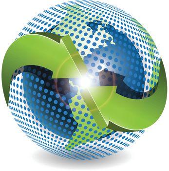 Abstract illustration green round arrows around globe