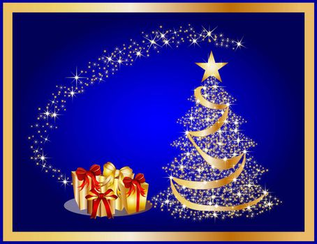 illustration of a golden christmas tree on blue background