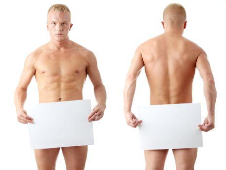Muscular nude man covering a blank billboard