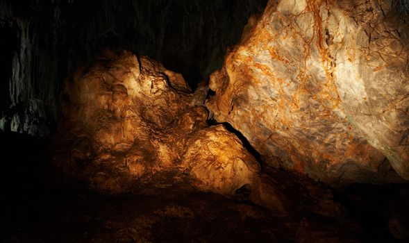 The amber rock in a cave