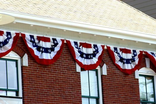 Banners hanging outside of a public building
