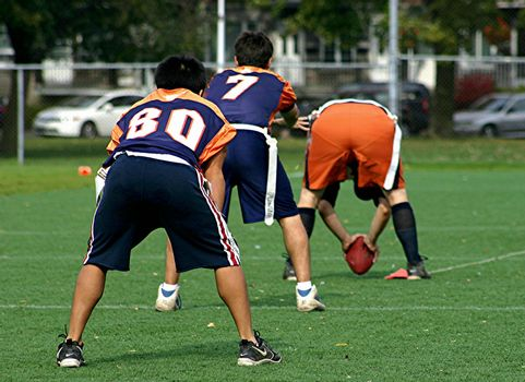 Young men getting ready to run a play in football