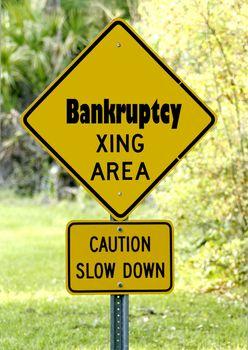 Unique bankruptcy danger sign photogrph