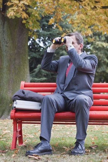 Businessman searching with binoculars while sitting on a red park bench