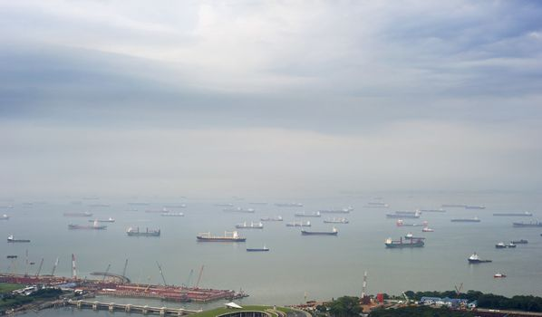 A lot of ships near the Singapore harbor