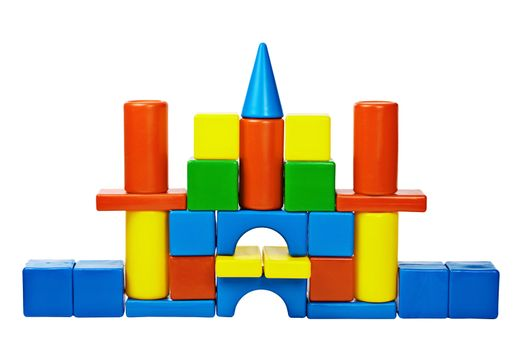 Castle was built from color toy blocks