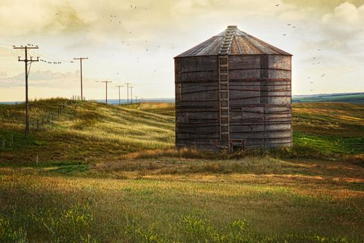 Abandoned wood grain storage bin in Saskatchewan