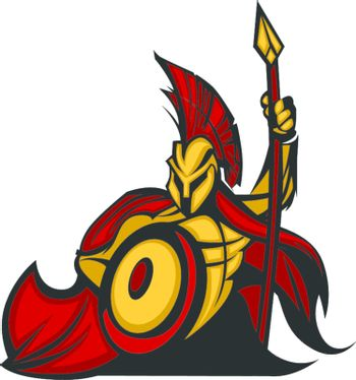 Spartan Trojan Mascot with Spear