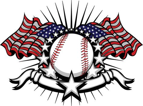Baseball with Flags and Stars