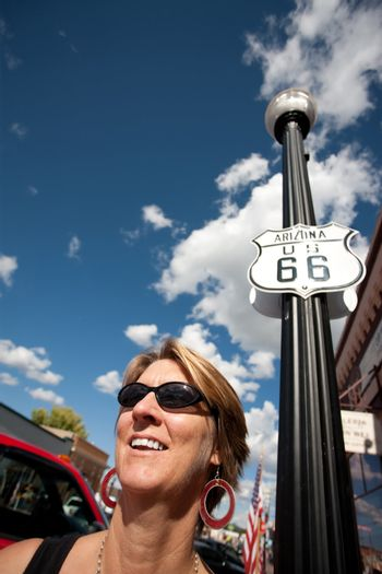 Woman on Route 66