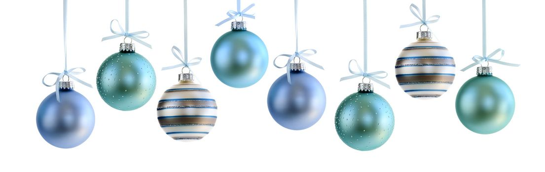 Various Christmas decoration hanging isolated on white