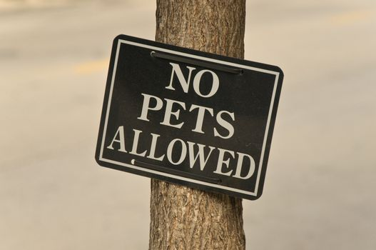 Sign restricting the presence of pets in the area