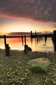 Sunset over pebble beach