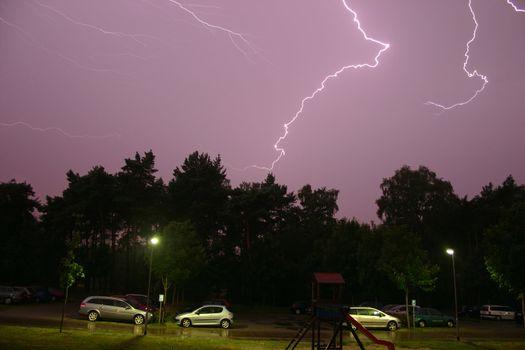 Lightning  during a summer storm  at night