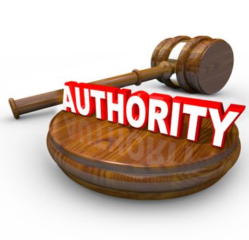 Authority - Judge Gavel and Word for Person in Command