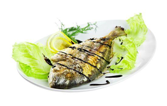 roast fish on the white