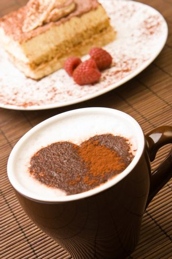 Cappuccino with a chocolate heart