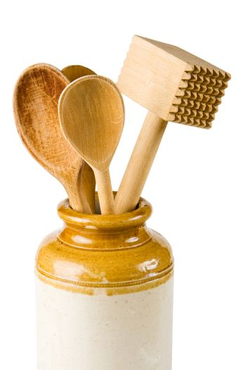 Wooden spoons and a meat hammer