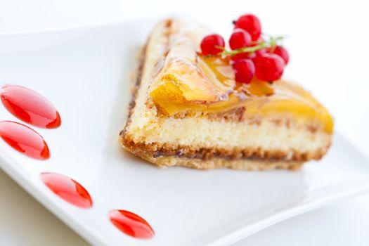 Slice of apple sponge tart