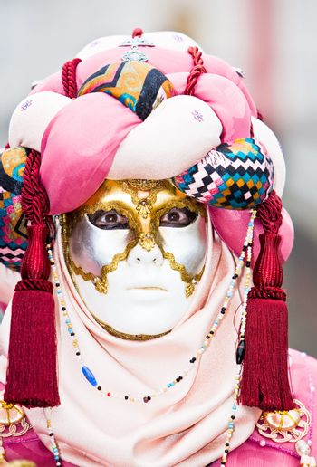 Pink and red mask