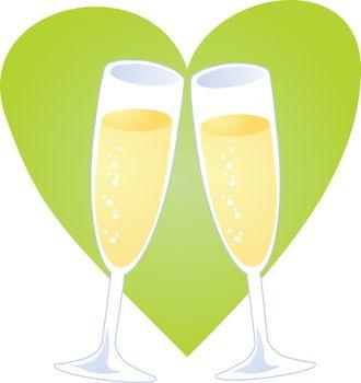 Champagne toast over heart, romantic celebration illustration