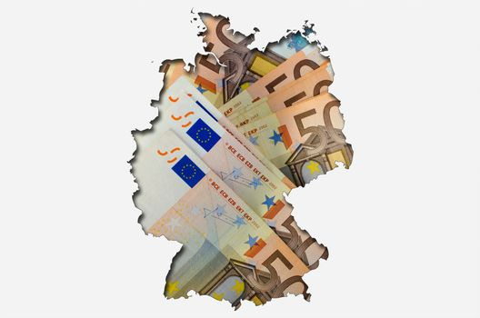 Outlined map of Germany with background of euro banknotes