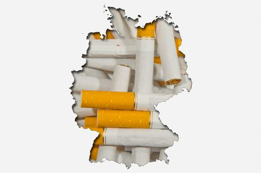 Outlined map of Germany with background of cigarettes