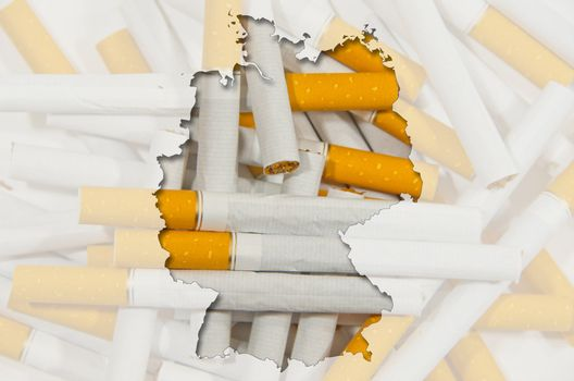 Outlined map of Germany with transparent background of cigarettes