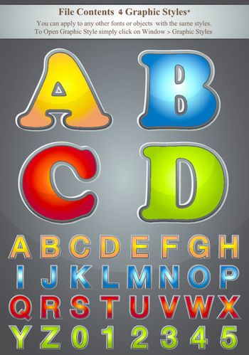 Yellow, blue, red, green Alphabet with Silver Emboss Stroke, contained with graphic style