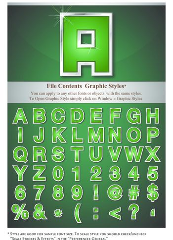 Green Alphabet with Silver Emboss Stroke, contained with graphic style