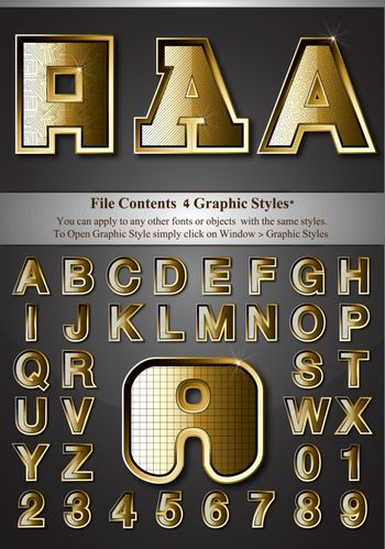 Metal Gold Emboss Alphabet, contained with graphic style