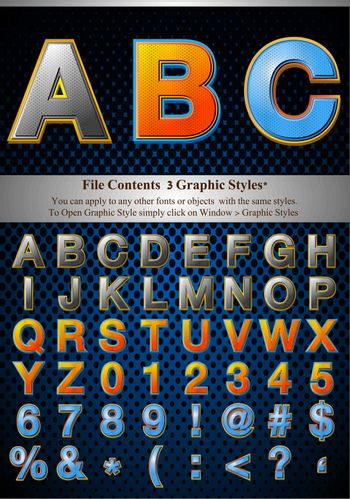 Alphabet Style With Halftone Fill, contained with graphic style
