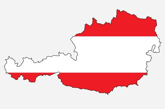 Outlined map of Austria with colors of austrian flag